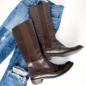 Davos Gomma Brown Tall Leather Riding Boots 38 (8)